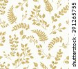 Seamless pattern gold glitter floral elements. Decoration elements for design invitation, wedding cards, valentines day, greeting cards - stock vector