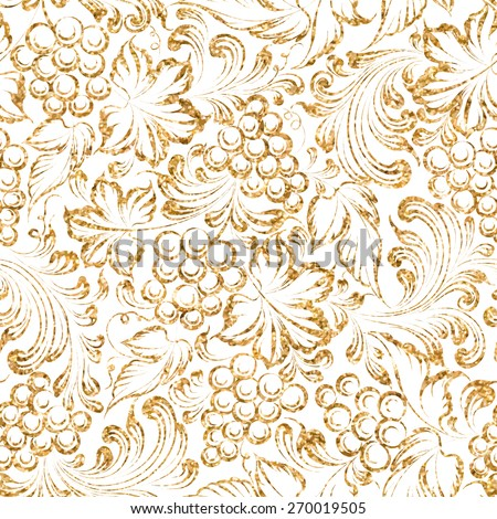 Seamless pattern gold grapes four vine background. Vector illustration - stock vector