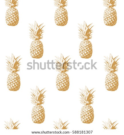 Gold Pineapple Background Vector Illustration Perfect For Invitations Greeting Cards