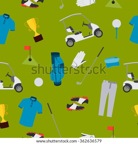 Seamless pattern golf. Clothes and accessories. Vector illustration