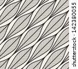 Seamless pattern. Graphic ornament. Geometric stylish background. Vector repeating texture with stylized leaves - stock