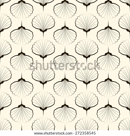 Seamless pattern, graphic ornament, sea stylish background. Vector repeating texture with stylized shells - stock vector