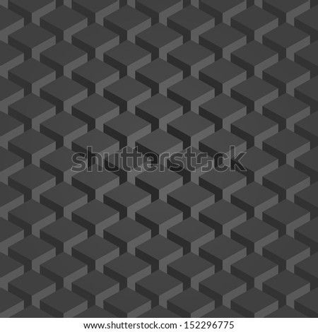 Seamless pattern gray background. Dark surface with 3-D effect cubes in perspective. Old retro wallpaper with repetition geometric shape. Vector illustration clip-art web design elements save in 8 eps - stock vector