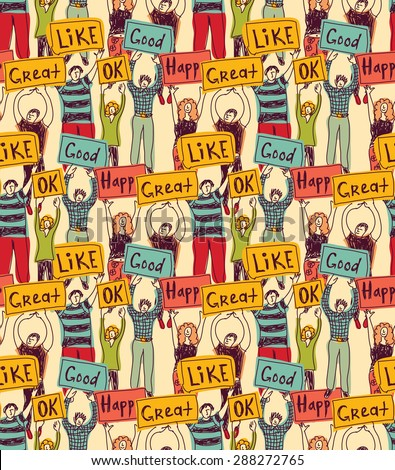 Seamless pattern group casual happy people with plates color Very big team of young unrecognizable happy people. Color seamless pattern vector illustration. - stock vector