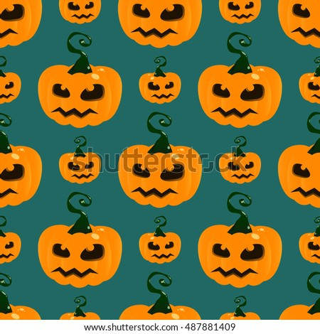 Seamless pattern halloween pumpkin with scary face