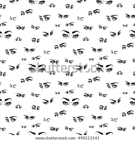 Seamless pattern hand draw eyes comic stock vector 490513141 hand draw eyes in comic style graphic illustrationctor isolated ccuart Gallery