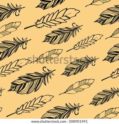 Seamless pattern. Hand drawn bird black feathers. Vector illustration - stock vector
