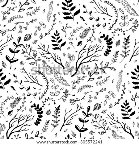 Seamless pattern. Hand drawn branches and leaves. Ink illustration.