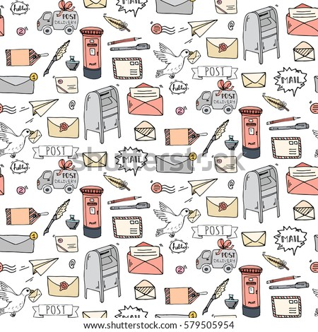 Seamless pattern hand drawn doodle postal stock vector royalty free seamless pattern hand drawn doodle postal elements icon set vector illustration isolated post symbols spiritdancerdesigns Images