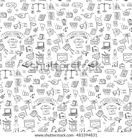 Seamless Pattern Hand Drawn Doodle Vote Stock Photo Photo Vector
