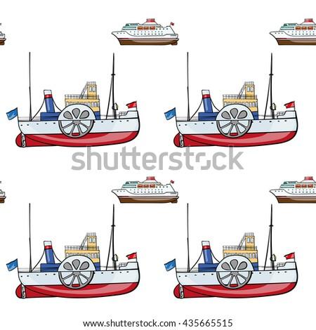 seamless pattern. Hand drawn water transpor. kids toy steamship, cruise - stock vector