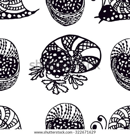 Seamless pattern Handdrawn illustration from the collection of exquisite delicacies of cuisines of the world. The set of snails alive and stuffed for use in design. Vector illustration