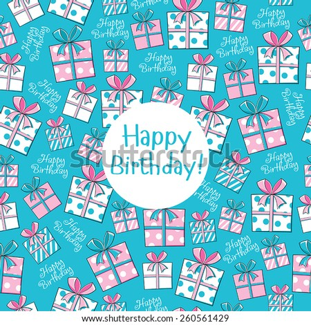 Seamless pattern Happy Birthday with a lot of presents