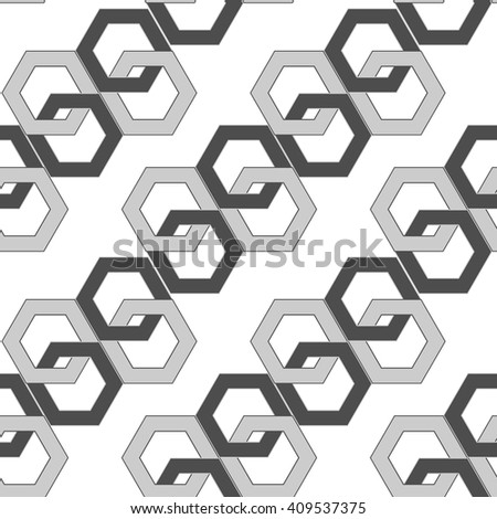 seamless pattern - hexagonal links of an abstract chain. vector illustration - stock vector