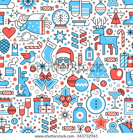 Seamless pattern. Horizontal and vertical. Merry Christmas and New Year. Flat style thin line art icons set isolated on white background. - stock vector