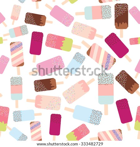 seamless pattern ice cream, ice lolly, pastel colors on white background. Vector - stock vector