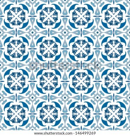 Blue and white ceramic tile