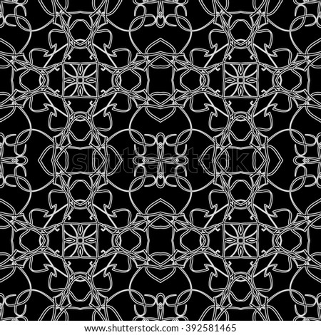 Seamless pattern in arabic style. Intersecting curved elegant lines and scrolls forming abstract floral ornament. Arabesque.