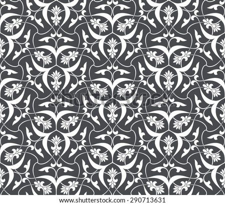 Seamless pattern in Arabic style. Intersecting curved elegant stylized leaves and scrolls forming abstract floral ornament on dark background. Arabesque. - stock vector