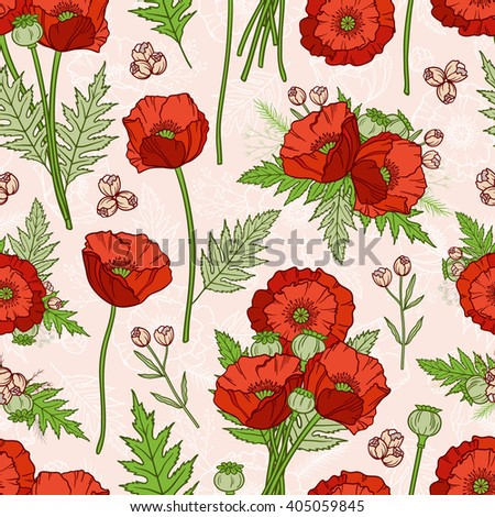 Seamless pattern in boho style with poppies. Hand drawn floral elements. Summer time. Floral bright pattern for textile, packaging, greeting cards, invitations, wedding decoration. Bohemian collection - stock vector