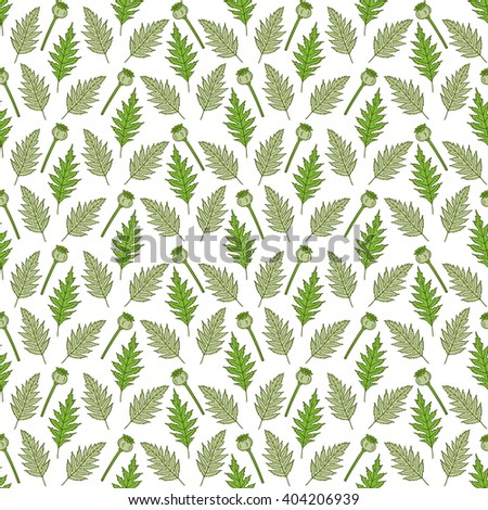 Seamless pattern in boho style with poppy heads and leaves. Hand drawn floral elements. Floral pattern for textile, packaging, greeting cards, invitations, wedding decorations. Bohemian collection. - stock vector