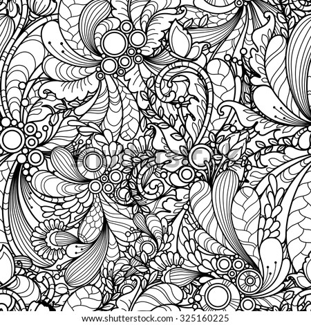 Seamless pattern in doodle style. Floral, nature, ornate, decorative, tribal, abstract vector pattern. Black and white monochrome background. Zentangle hand drawn coloring book page - stock vector