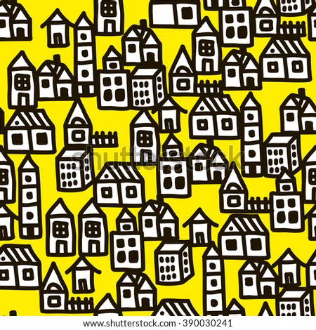Seamless pattern in doodle style with black line buildings. Vector repeated background. - stock vector
