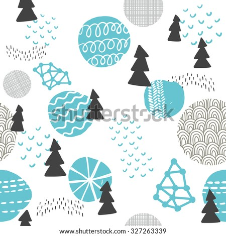 Seamless pattern in modern Scandinavian style. Vector background of north nature. - stock vector
