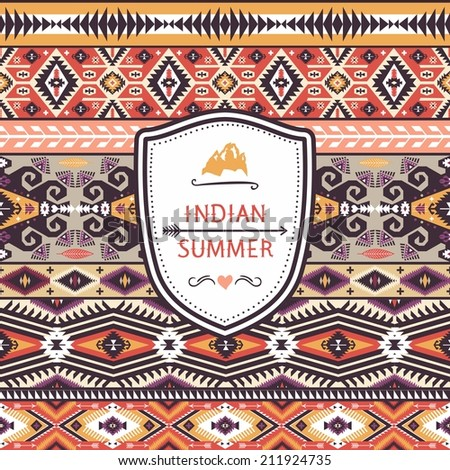 Seamless pattern in native american style - stock vector