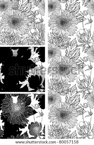 Seamless pattern in retro style with black flowers and white background - stock vector