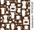 Seamless pattern in retro style with coffee related items. - stock vector