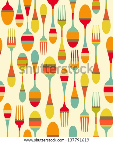 stock vector seamless pattern in retro style with spoons and forks 137791619 - Каталог — Фотообои «Еда, фрукты, для кухни»