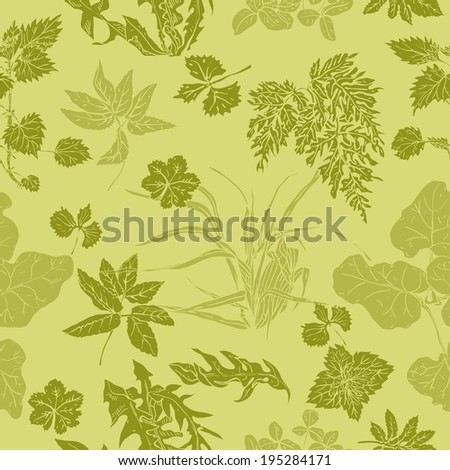 Seamless pattern in shades of green with various common herbs and weeds, which are used in medicine and cosmetology  - stock vector