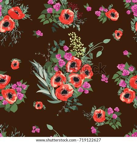 Seamless pattern small pretty red flowers stock vector 719122627 seamless pattern in small pretty red flowers poppy bouquets liberty style millefleurs floral mightylinksfo