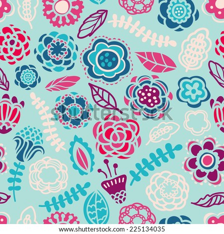 Seamless pattern in vector made of flowers and leaves. Seamless pattern can be used for pattern fills, wallpapers, web page backgrounds. - stock vector