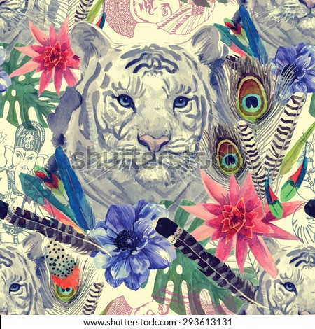 Seamless pattern in vintage Indian style with white tiger head, feathers, exotic flowers and leaves, Ganesha and maharajah sketches. Hand drawn watercolor vector. - stock vector