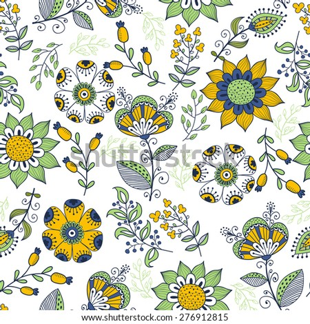 Seamless pattern in vintage style. Doodle flowers,  leaves and grass retro design. Can be used for wallpaper, pattern fills, web page background, surface textures. Vector - stock vector