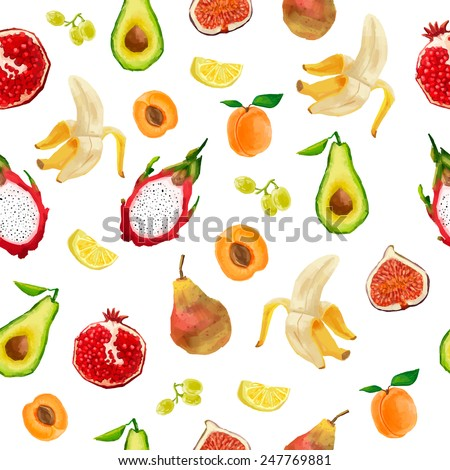 Seamless pattern in watercolor style. Berries, fruits, tropical fruits. Vector. - stock vector