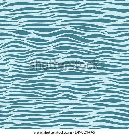 Seamless pattern; Irregular abstract striped texture in blue colors - stock vector