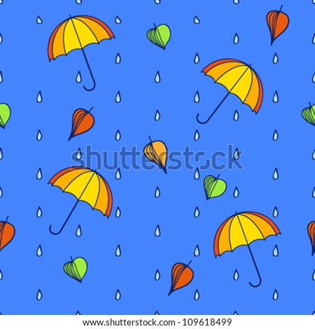 seamless pattern, leaf, drop, umbrella. vector illustration