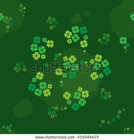 Seamless pattern 4 leaves clover on the green grasses meadow - stock vector