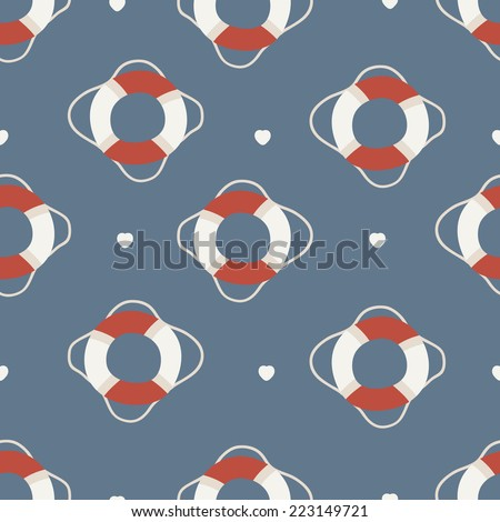 seamless pattern. Life Preserver with heart - stock vector