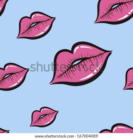 Seamless pattern. Lips. Kiss. Imprint. Wallpaper. vector illustration - stock vector