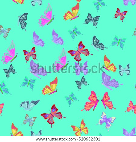 Seamless pattern lovely  butterflies fly vector illustration