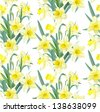 Seamless pattern lush yellow daffodils on white background - stock vector