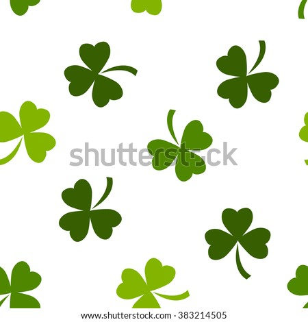 Seamless pattern made from green shamrocks - stock vector