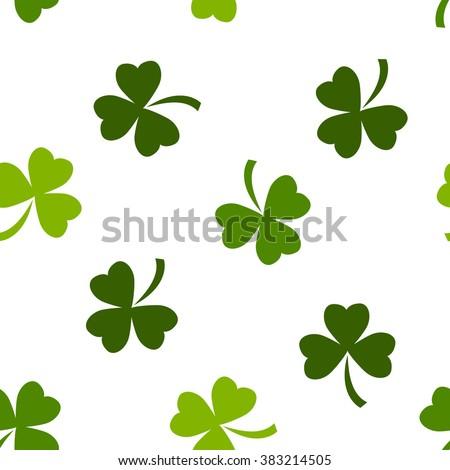 Seamless pattern made from green shamrocks - stock vector