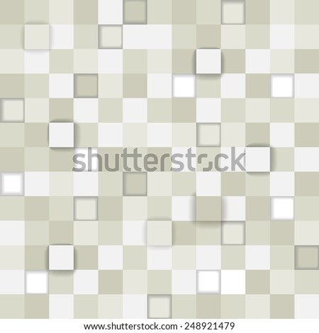 Seamless pattern made from many gray squares with shadow - stock vector