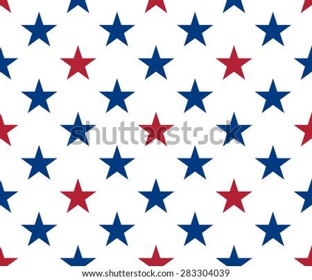 Seamless pattern made from red and blue five pointed stars - stock vector