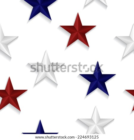 Seamless pattern made from red, blue and white stars - stock vector